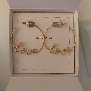 Stella & Dot Gold Love Hoop Earrings